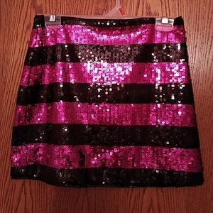 Gorgeous Sequined Black and Pink Mini Skirt.